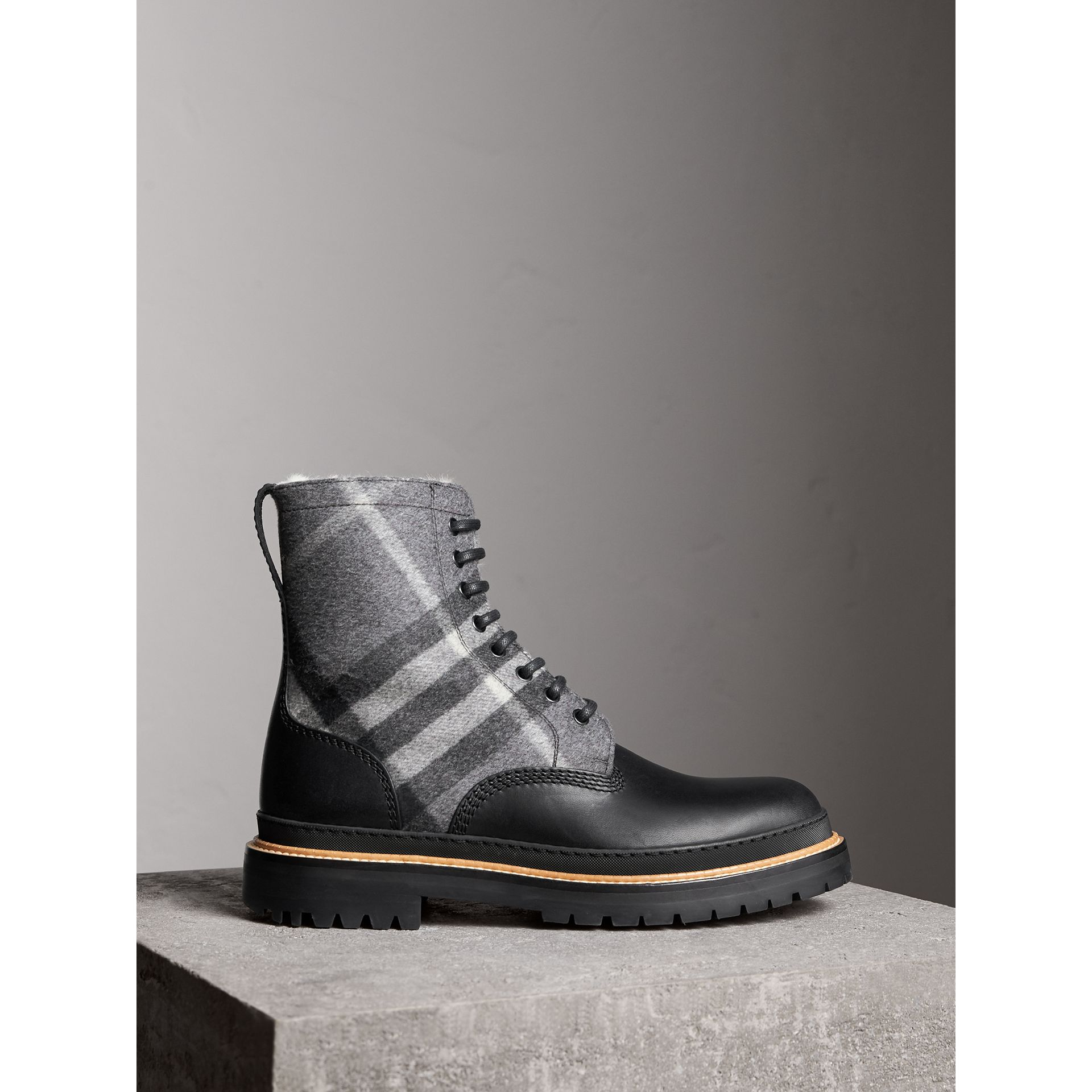 Shearling-lined Leather and Check Boots in Black - Men | Burberry - gallery image 0