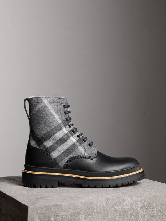 Shearling-lined Leather and Check Boots in Black