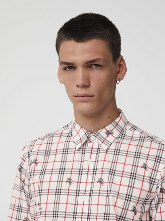 Equestrian Knight Check Cotton Shirt in Natural White - Men | Burberry United Kingdom - cell image 1