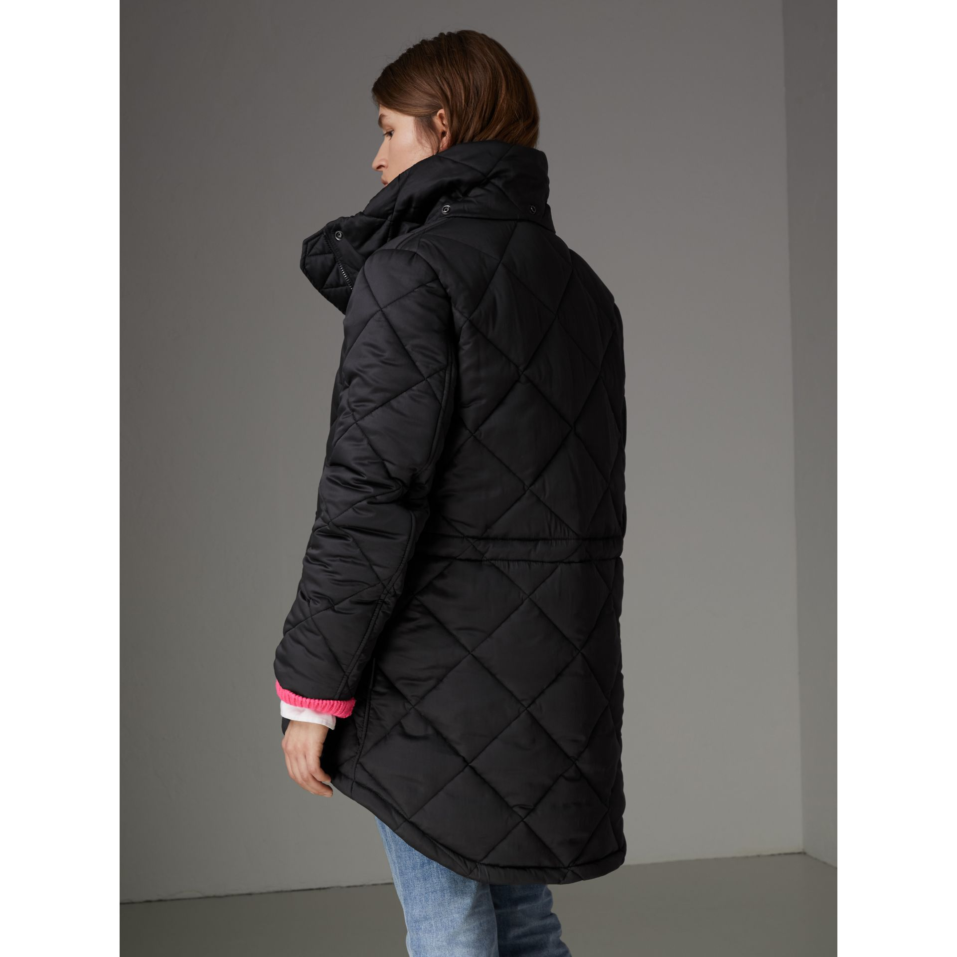 Detachable Hood Quilted Oversized Jacket in Black - Women | Burberry - gallery image 2