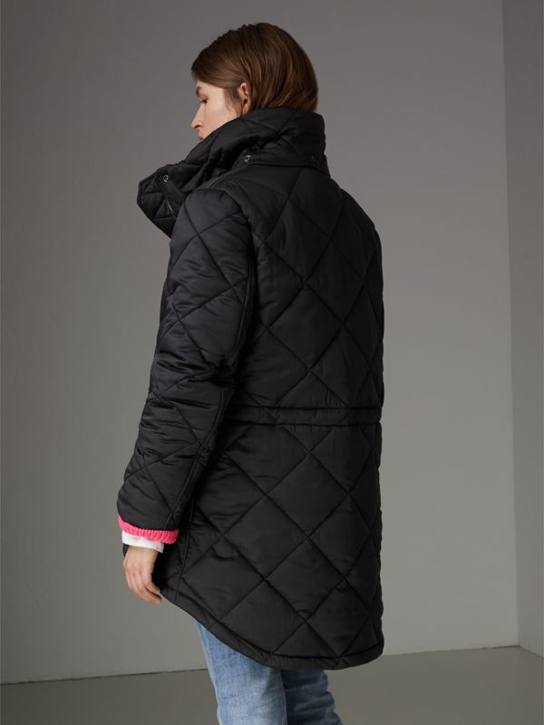 Detachable Hood Quilted Oversized Jacket in Black - Women | Burberry - cell image 2