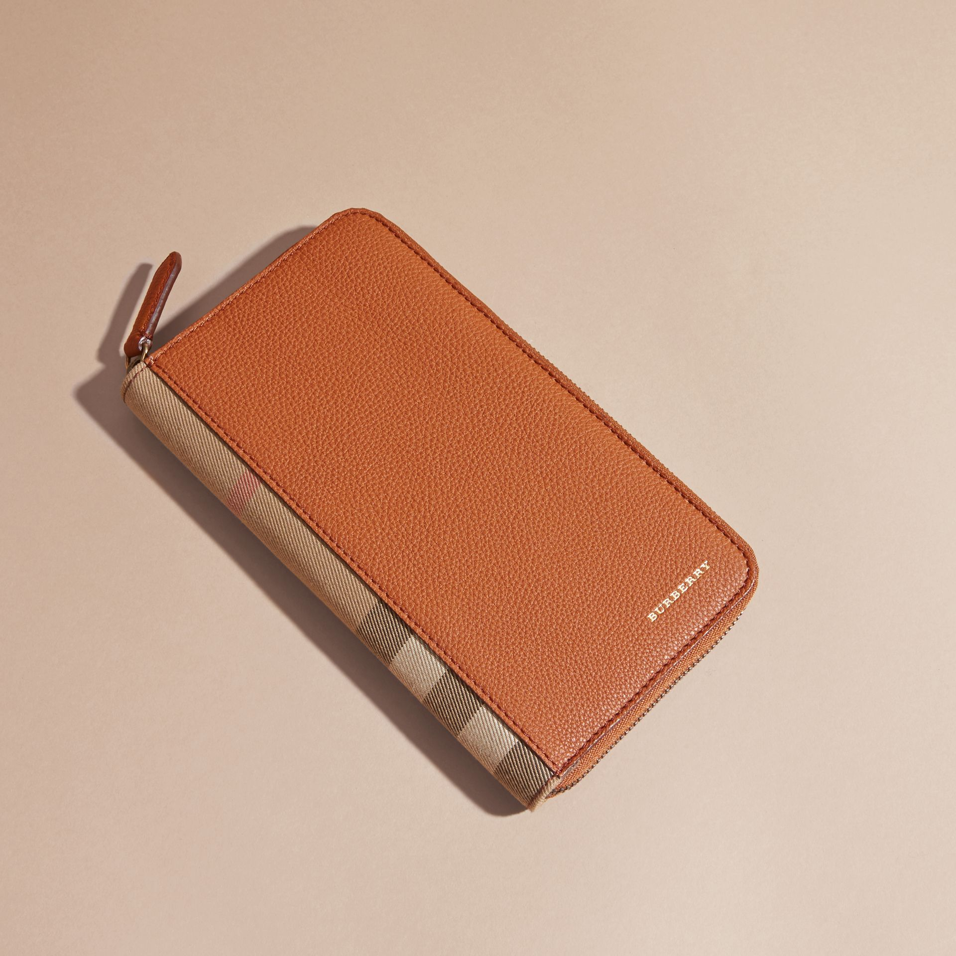 House Check and Grainy Leather Ziparound Wallet Russet - gallery image 7