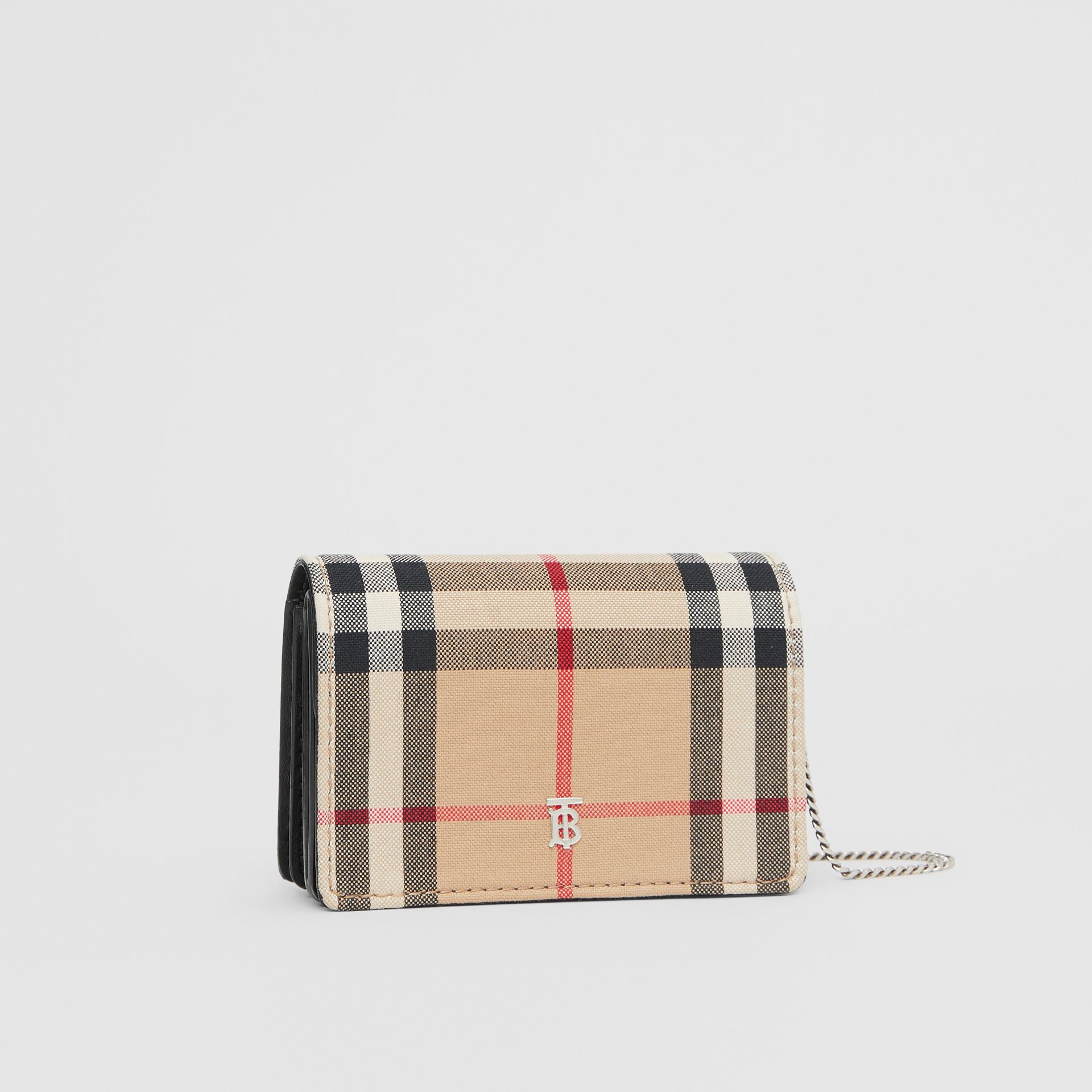 Vintage Check Card Case with Detachable Strap in Black - Women | Burberry Australia - gallery image 6