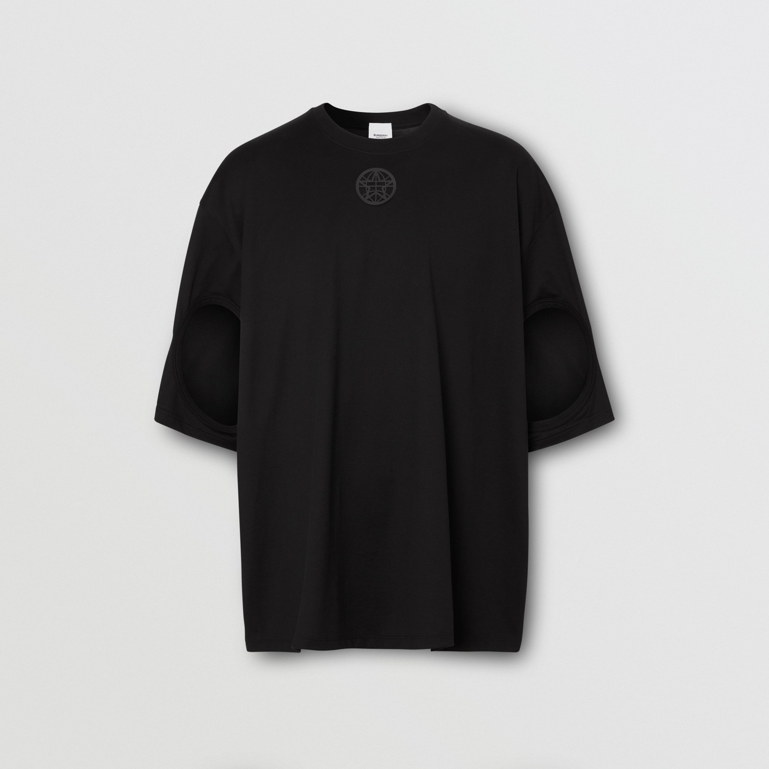 Cut-out Sleeve Montage Print Cotton Oversized T-shirt in Black - Men | Burberry - 3