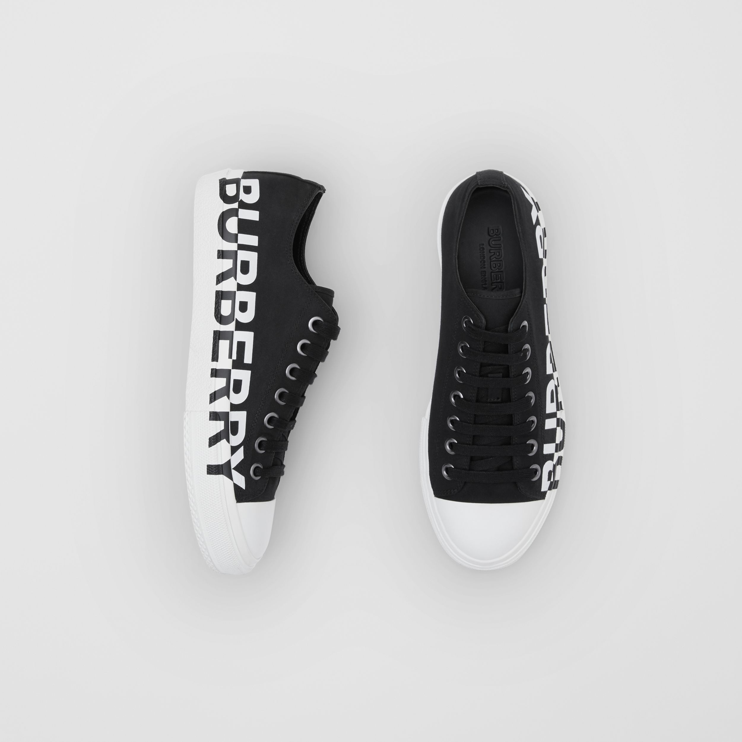 Logo Print Two-tone Cotton Gabardine Sneakers in Black/optic White | Burberry - 1