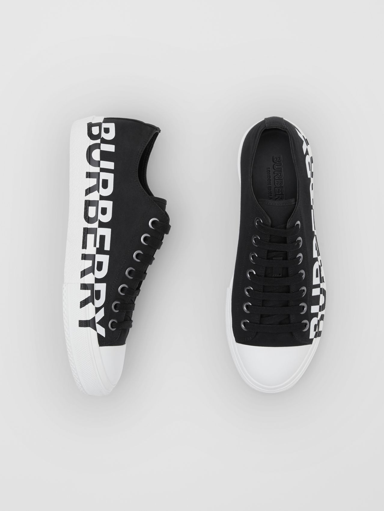 Logo Print Two-tone Cotton Gabardine Sneakers (Black/optic White)
