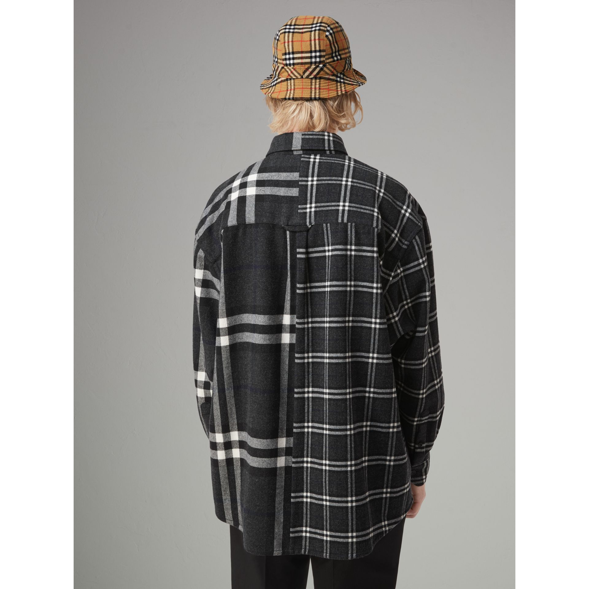 Gosha x Burberry Check Flannel Shirt in Charcoal | Burberry United States - gallery image 6