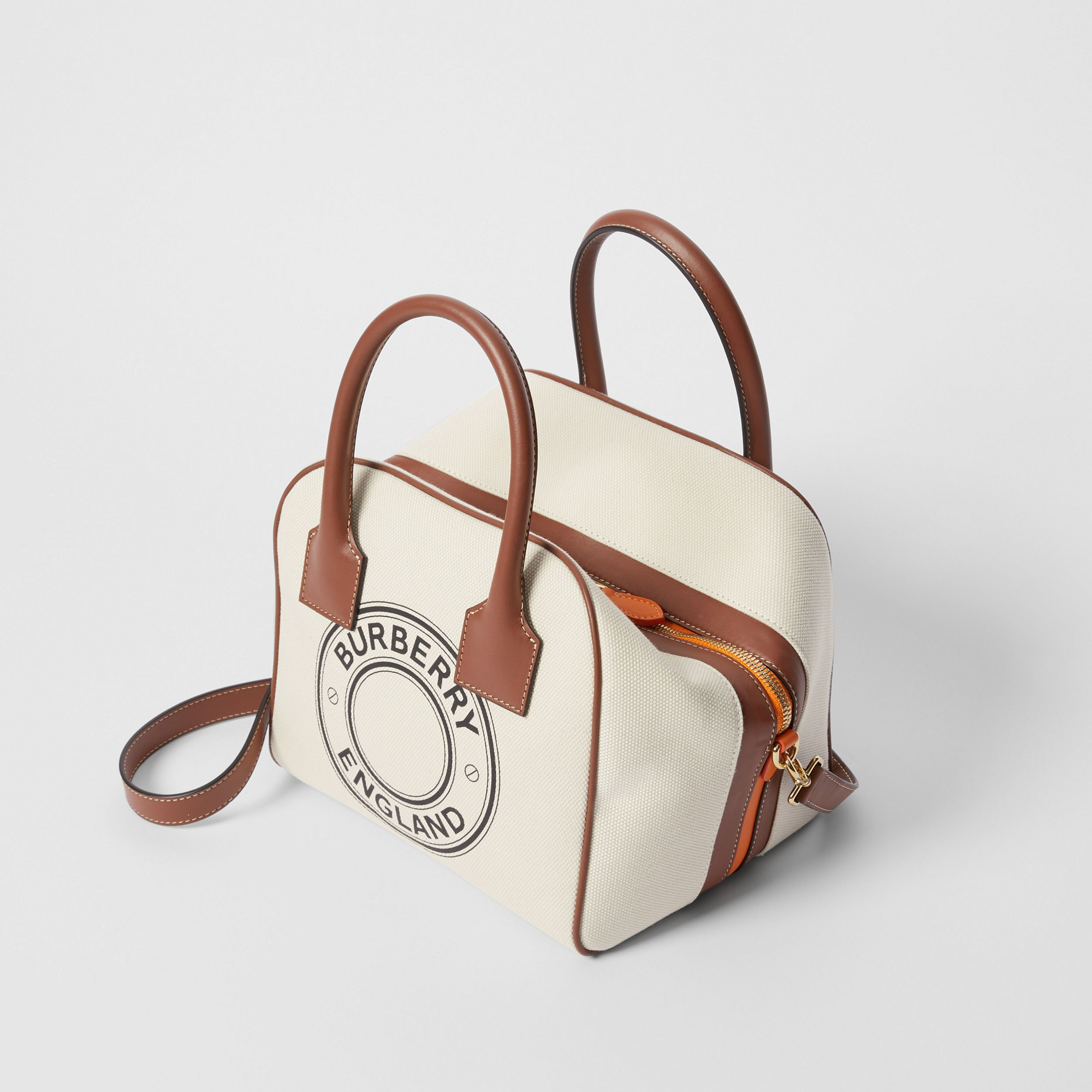 Small Logo Graphic Cotton Canvas Cube Bag in Natural/tan - Women | Burberry Australia - 4
