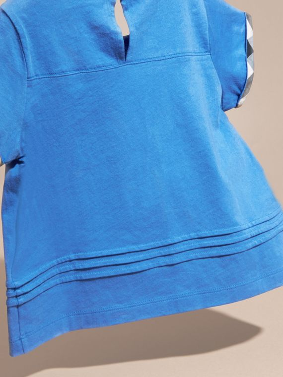 Bright hydrangea blue Pleat Detail Check Cotton T-Shirt Bright Hydrangea Blue - cell image 3