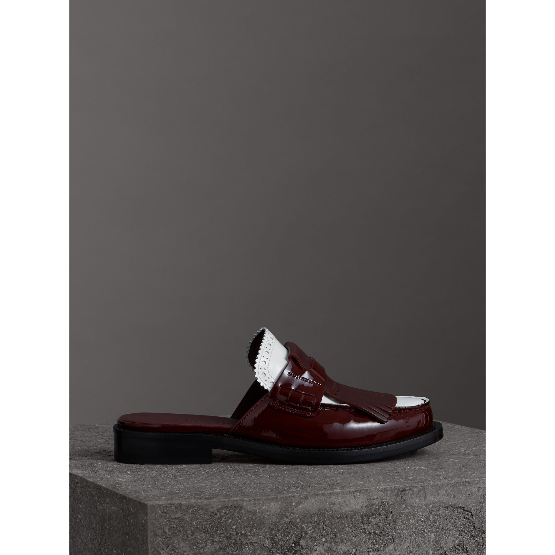 Tri-tone Kiltie Fringe Leather Mules in Burgundy Red - Women | Burberry Australia - gallery image 4