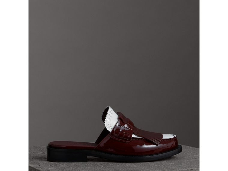 Tri-tone Kiltie Fringe Leather Mules in Burgundy Red - Women | Burberry - cell image 4
