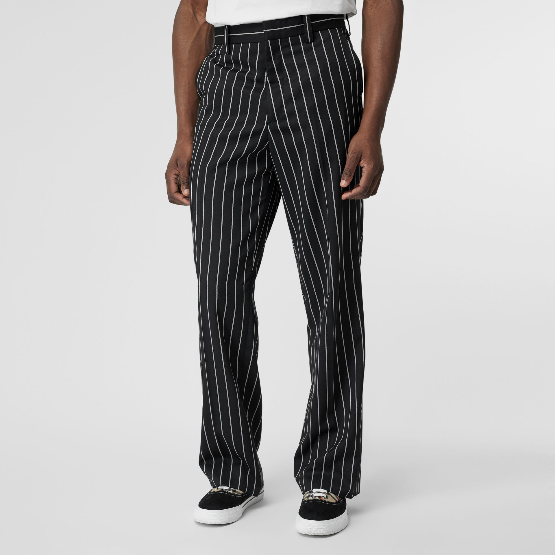 Pinstriped Stretch Wool Wide-leg Tailored Trousers in Black - Men | Burberry United Kingdom - gallery image 4