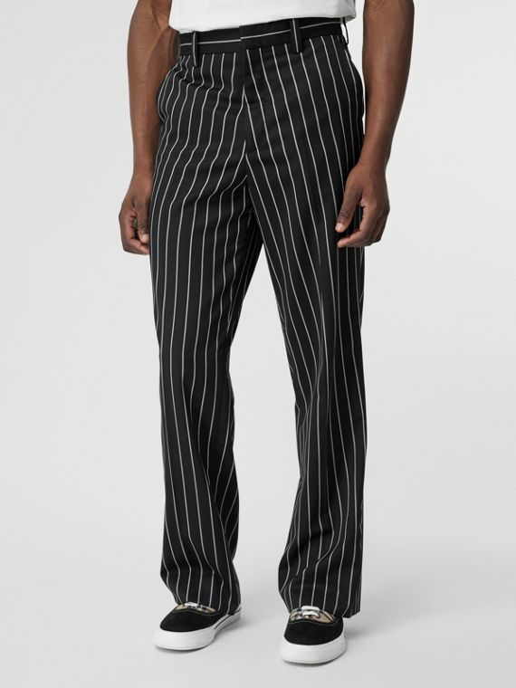Pinstriped Stretch Wool Wide-leg Tailored Trousers in Black