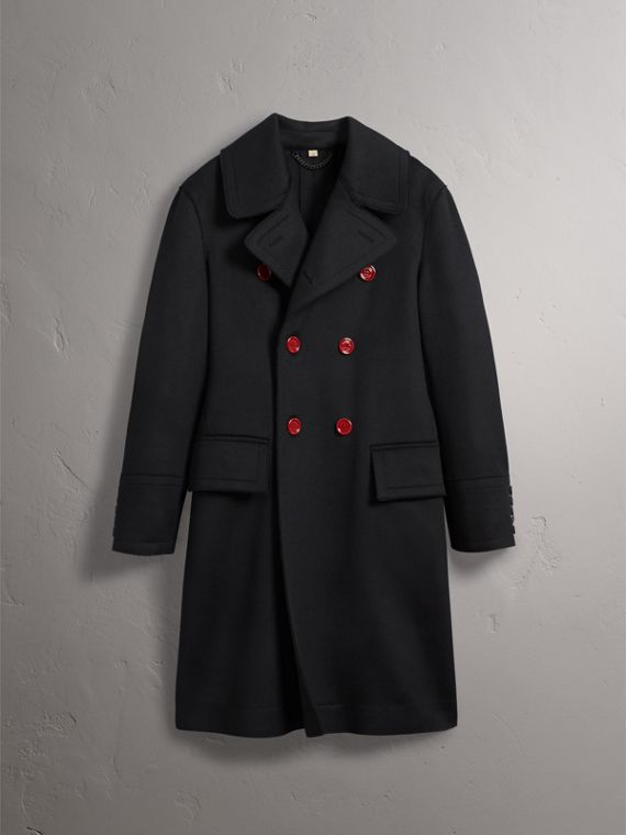 Resin Button Wool Greatcoat in Black - Men | Burberry Singapore - cell image 3