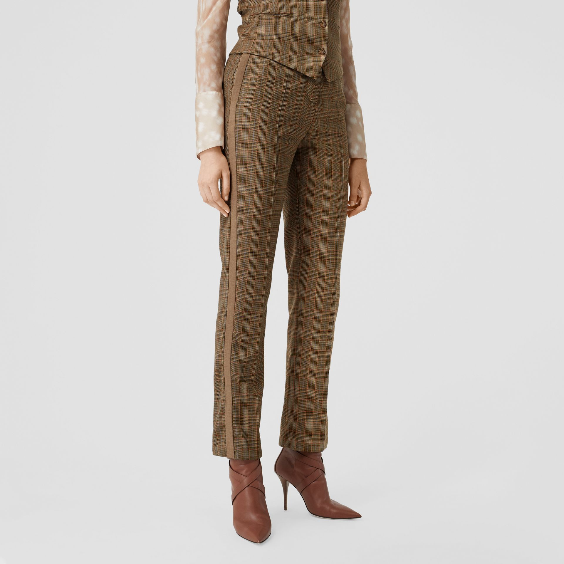 Side Stripe Houndstooth Check Wool Tailored Trousers in Fawn - Women | Burberry Hong Kong S.A.R - gallery image 4