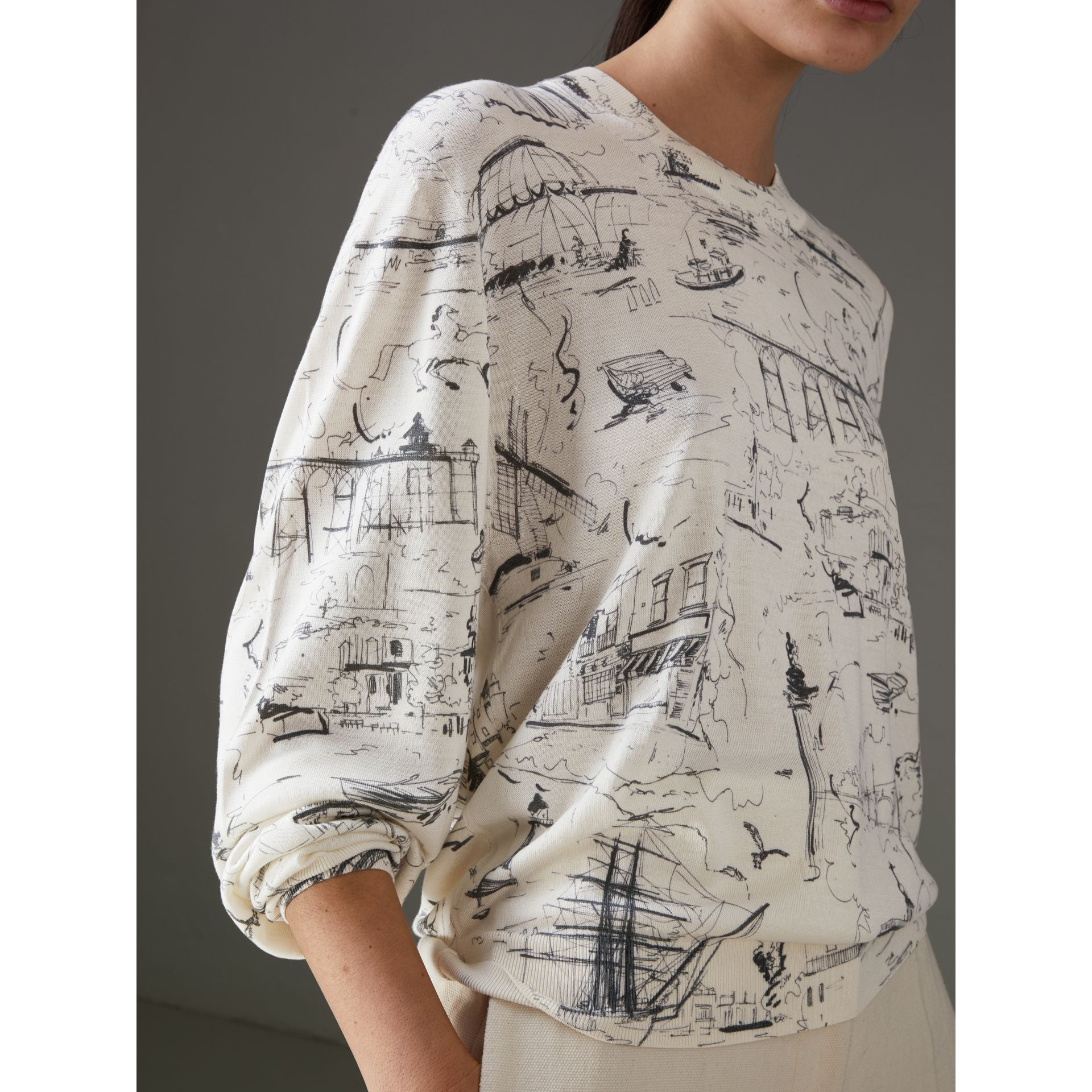 Landmark Print Silk Cashmere Sweater in Natural White - Women | Burberry - gallery image 1