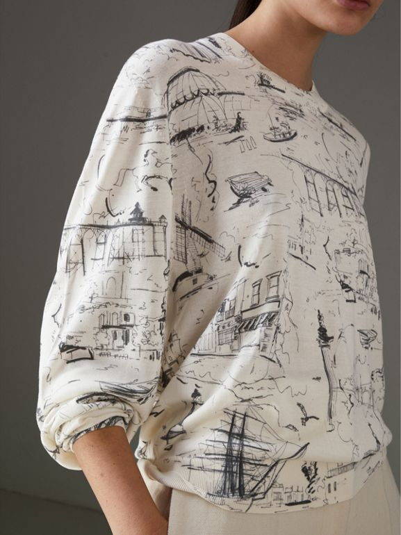 Landmark Print Silk Cashmere Sweater in Natural White - Women | Burberry Canada - cell image 1