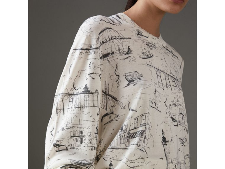 Landmark Print Silk Cashmere Sweater in Natural White - Women | Burberry - cell image 1