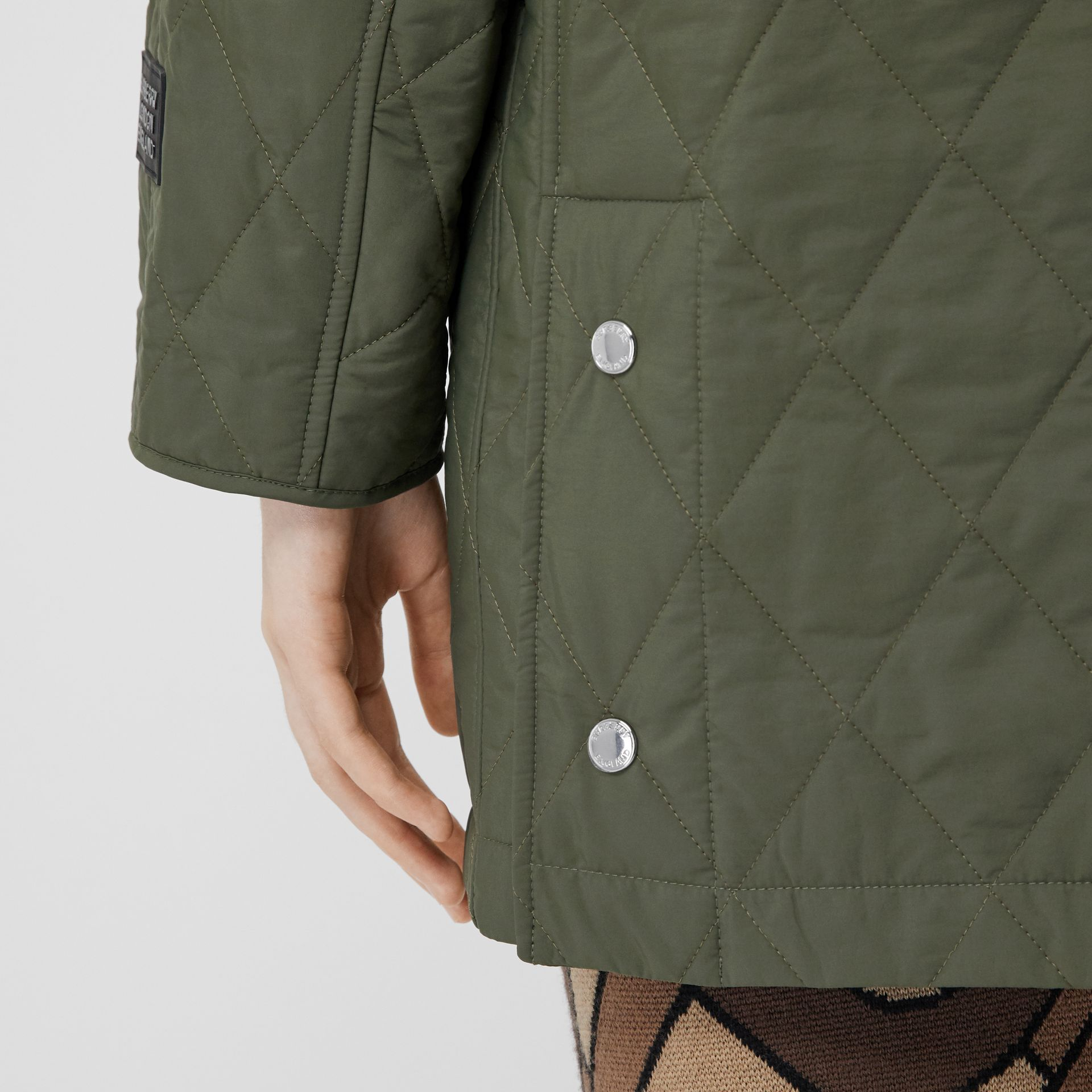 Diamond Quilted Thermoregulated Hooded Coat in Poplar Green - Women | Burberry - gallery image 4