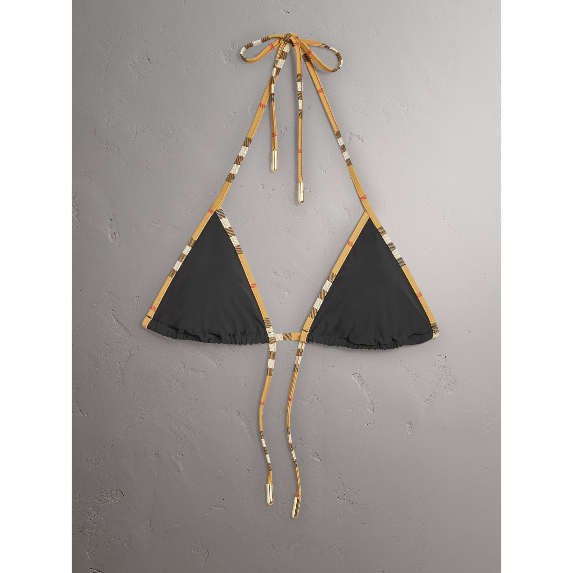 Bikini triangle avec bordure Vintage check (Noir) - Femme | Burberry Canada - photo de la galerie 1