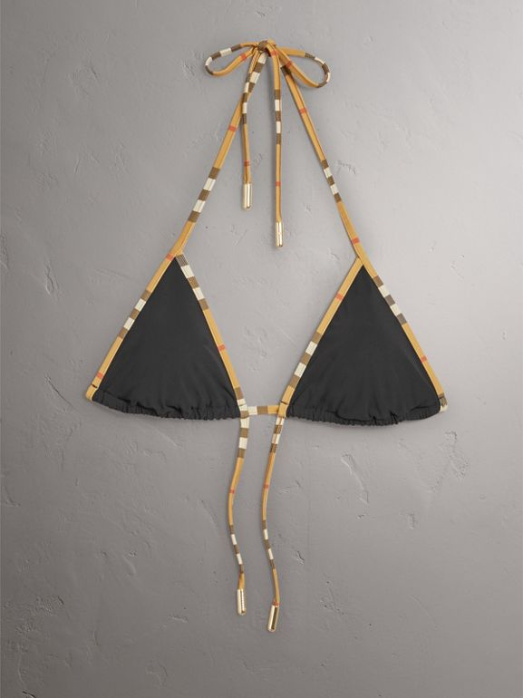 Vintage Check Trim Triangle Bikini in Black - Women | Burberry - cell image 1