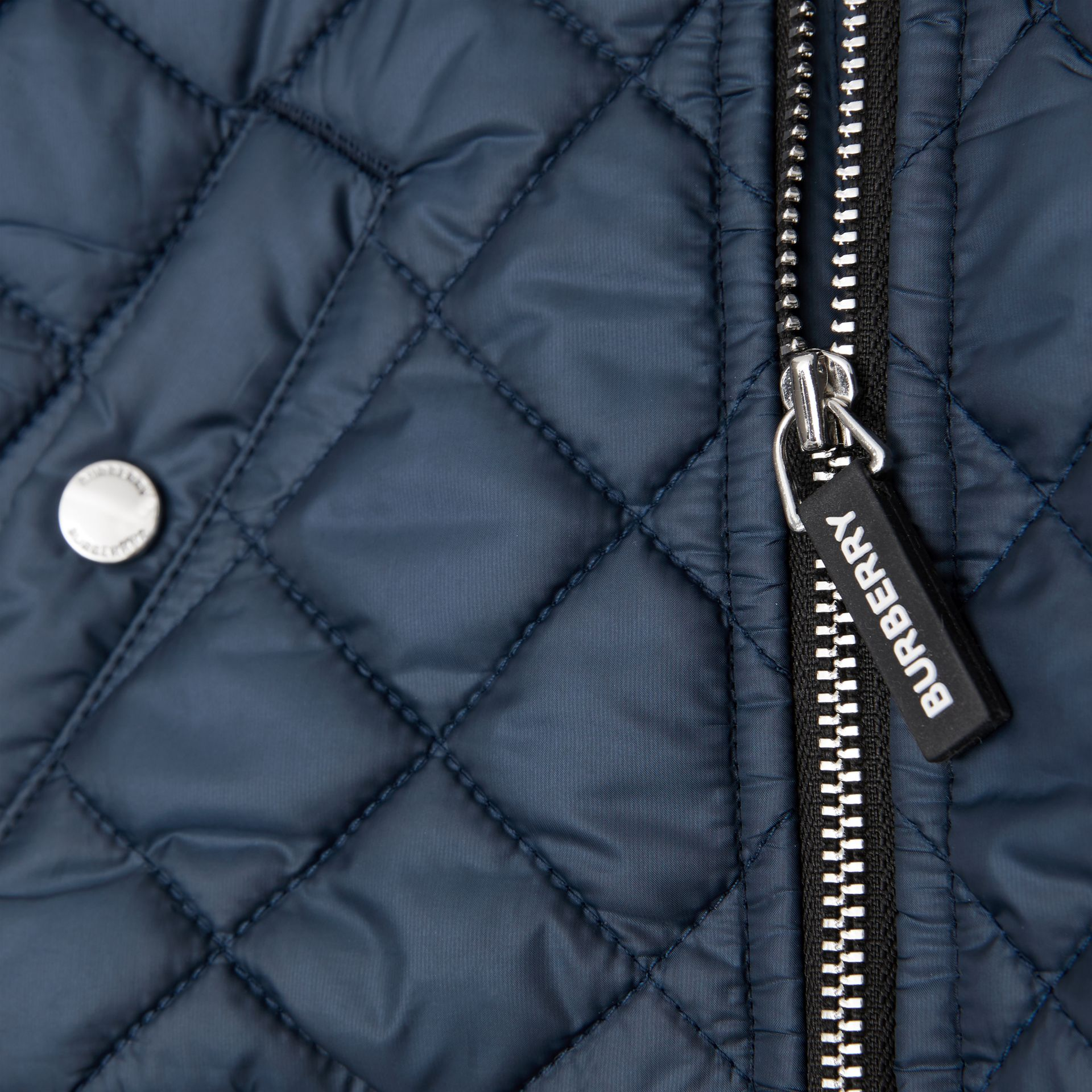 Contrast Sleeve Diamond Quilted Bomber Jacket in Grey Melange - Children | Burberry - gallery image 1