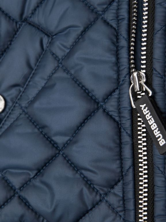 Contrast Sleeve Diamond Quilted Bomber Jacket in Grey Melange - Children | Burberry - cell image 1