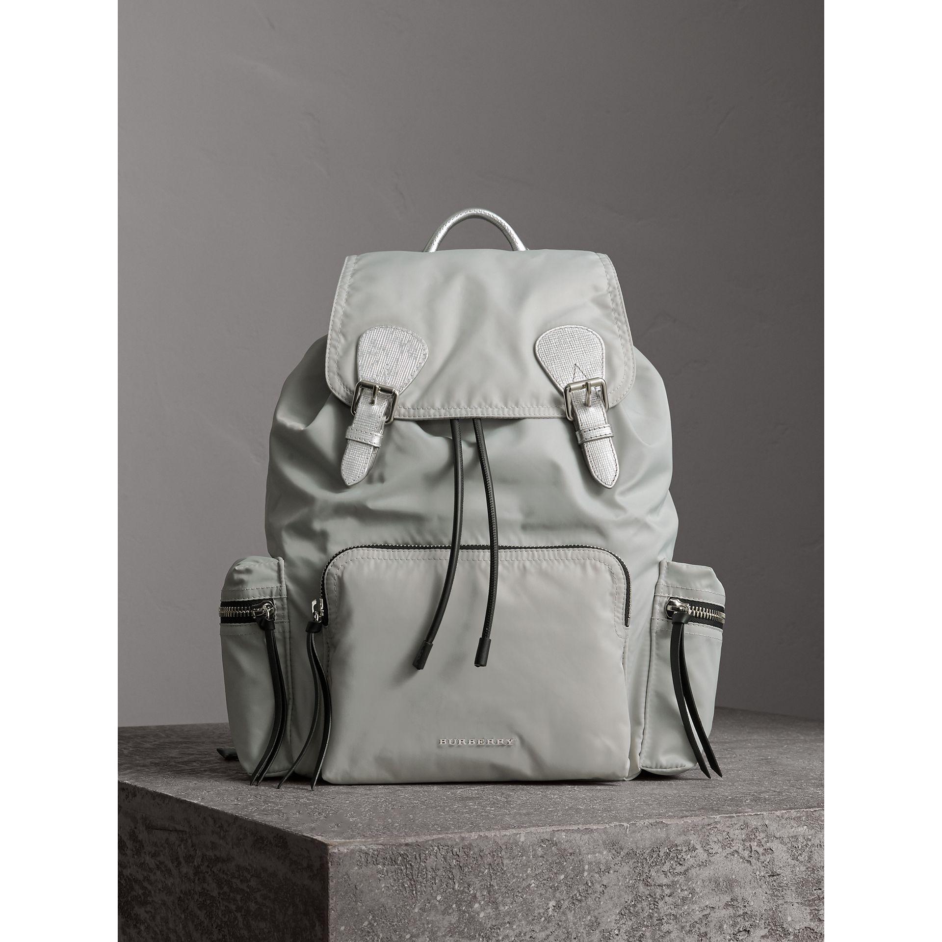 The Large Rucksack in Technical Nylon and Leather in Pale Stone/silver - Women | Burberry United Kingdom - gallery image 6