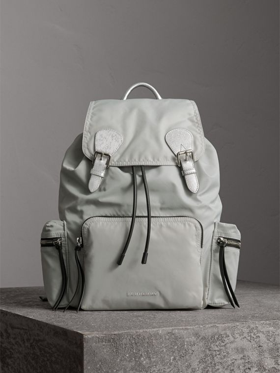 The Large Rucksack in Technical Nylon and Leather in Pale Stone/silver