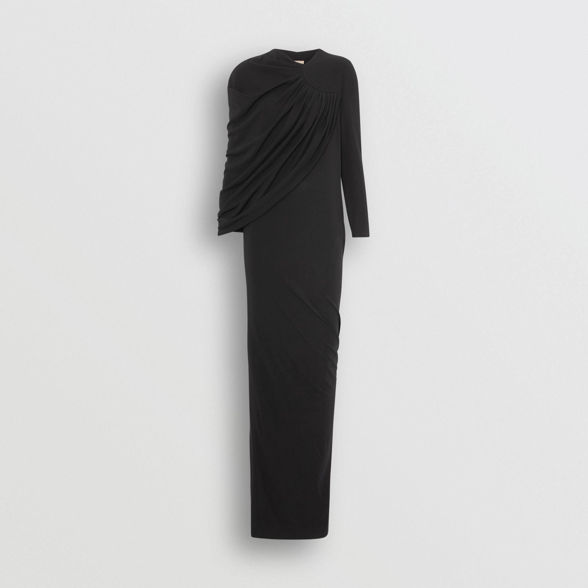 Cape-sleeve Stretch Jersey Gown in Black - Women | Burberry Australia - gallery image 3