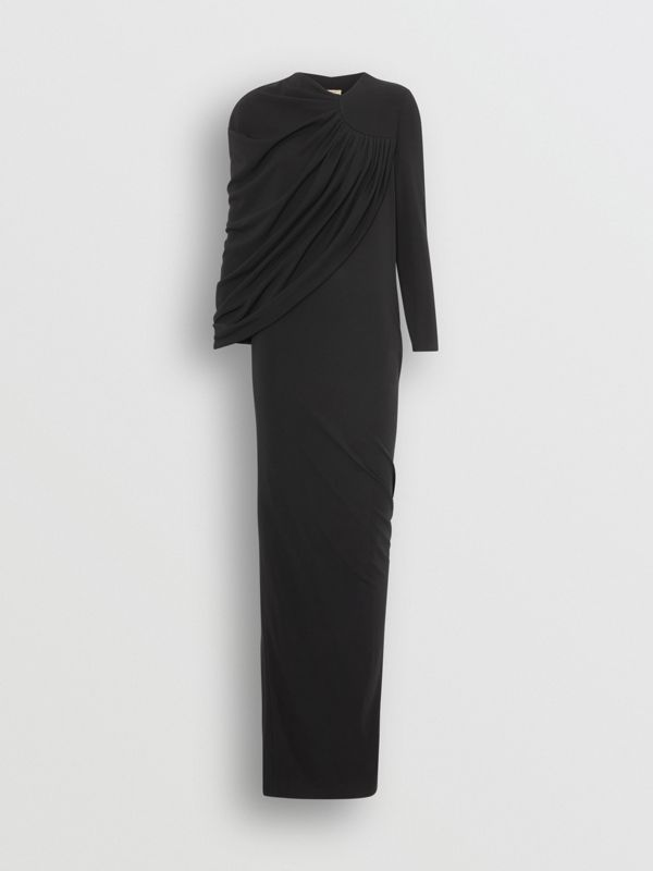 Cape-sleeve Stretch Jersey Gown in Black - Women | Burberry Australia - cell image 3