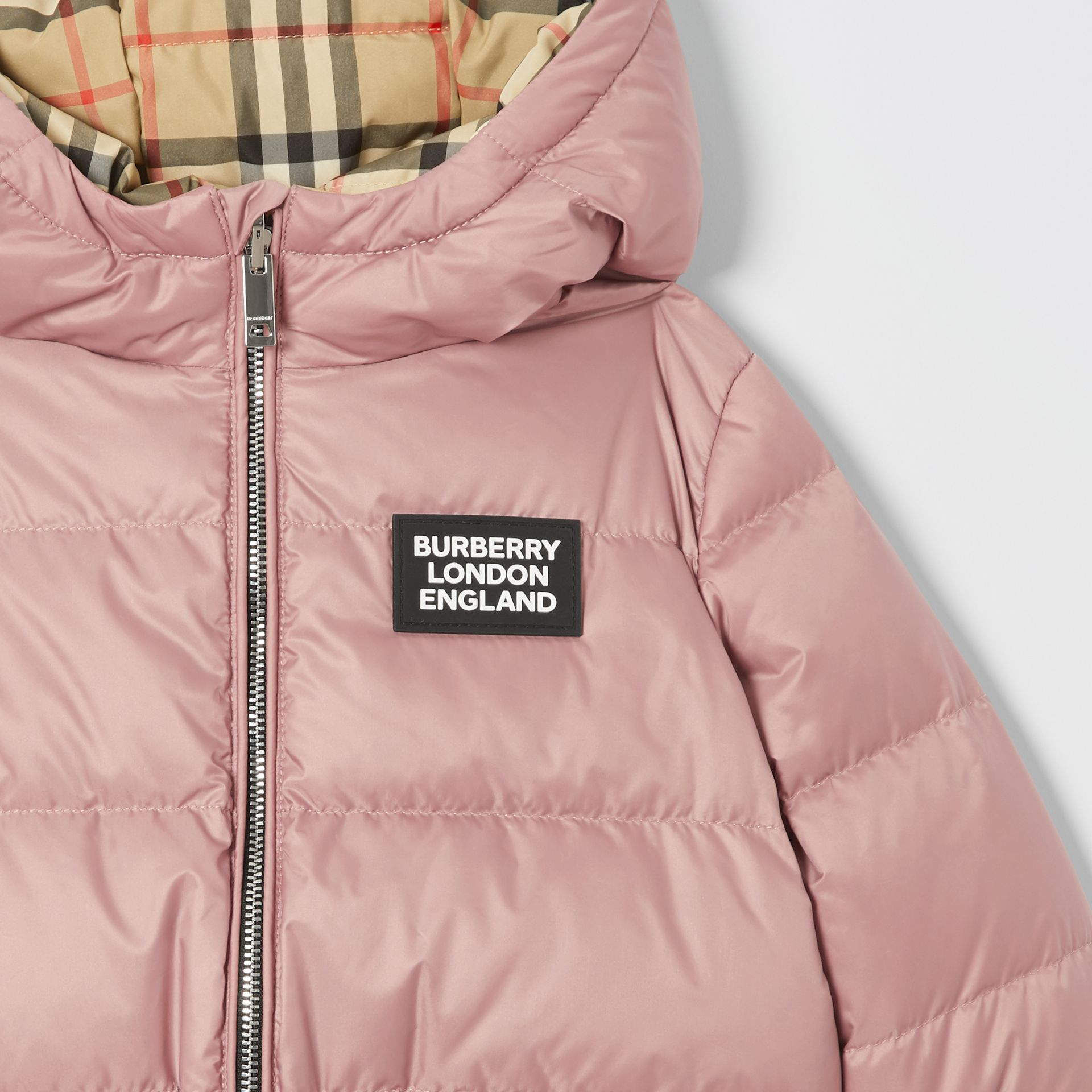 Reversible Vintage Check Down-filled Puffer Jacket in Lavender Pink - Children | Burberry United Kingdom - gallery image 5