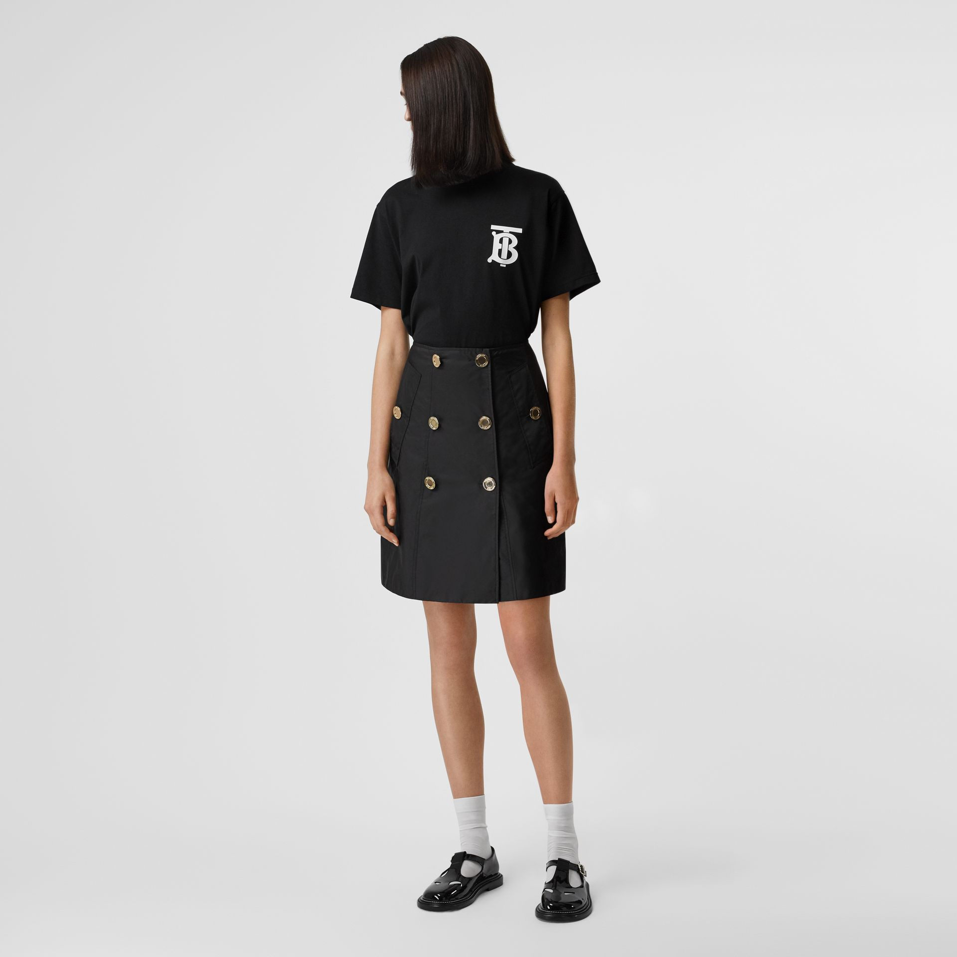 Nylon Trench Skirt in Black - Women | Burberry - gallery image 0