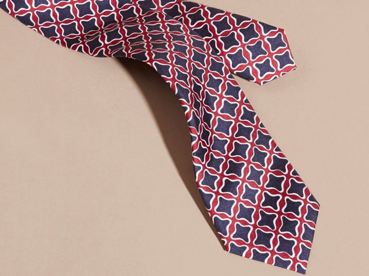 Parade red Slim Cut Geometric Print Silk Tie - cell image 1