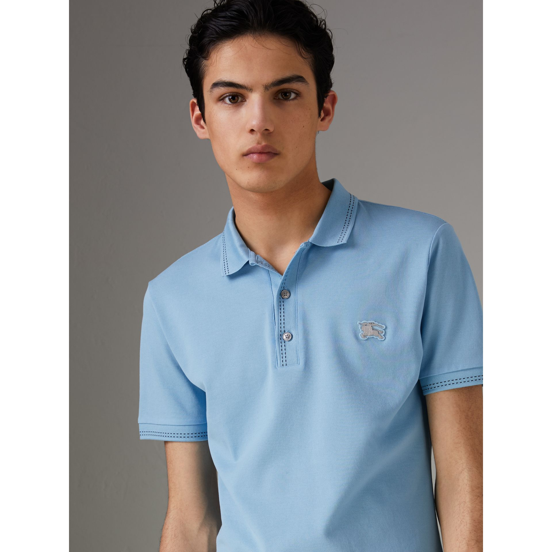 Cotton Piqué Polo Shirt in Pale Turquoise - Men | Burberry - gallery image 0