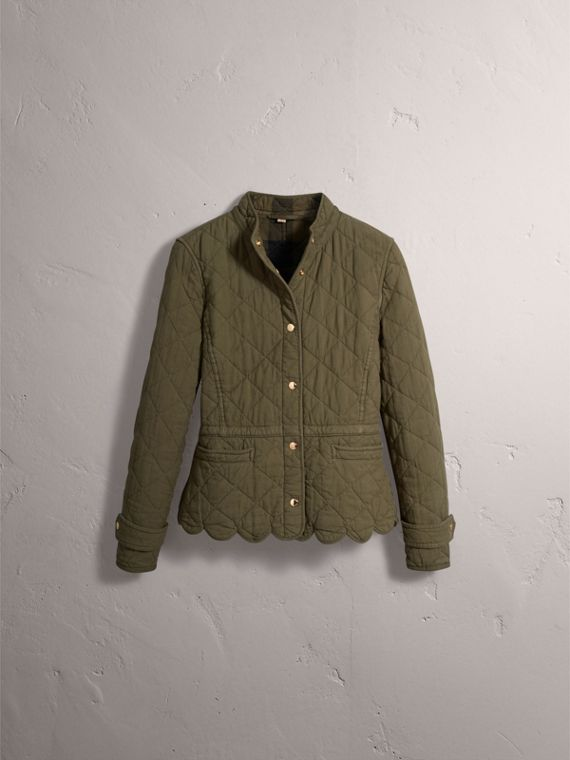 Scalloped Diamond Quilted Cotton Jacket in Olive - Women | Burberry - cell image 3