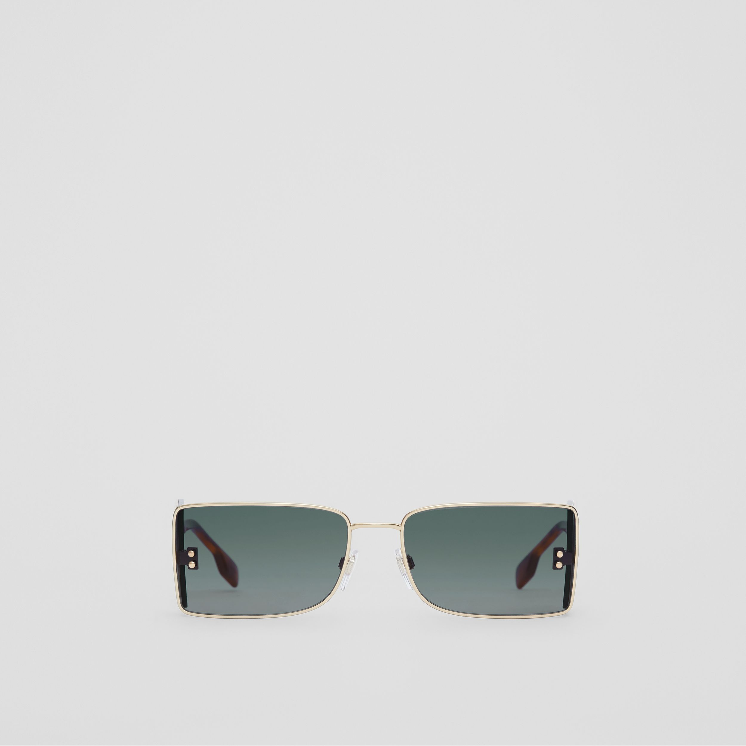 'B' Lens Detail Rectangular Frame Sunglasses in Tortoiseshell | Burberry Canada - 1