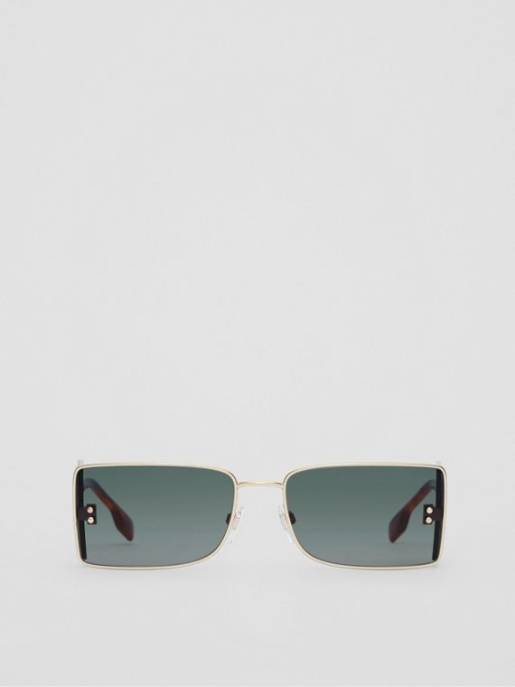 'B' Lens Detail Rectangular Frame Sunglasses in Tortoiseshell