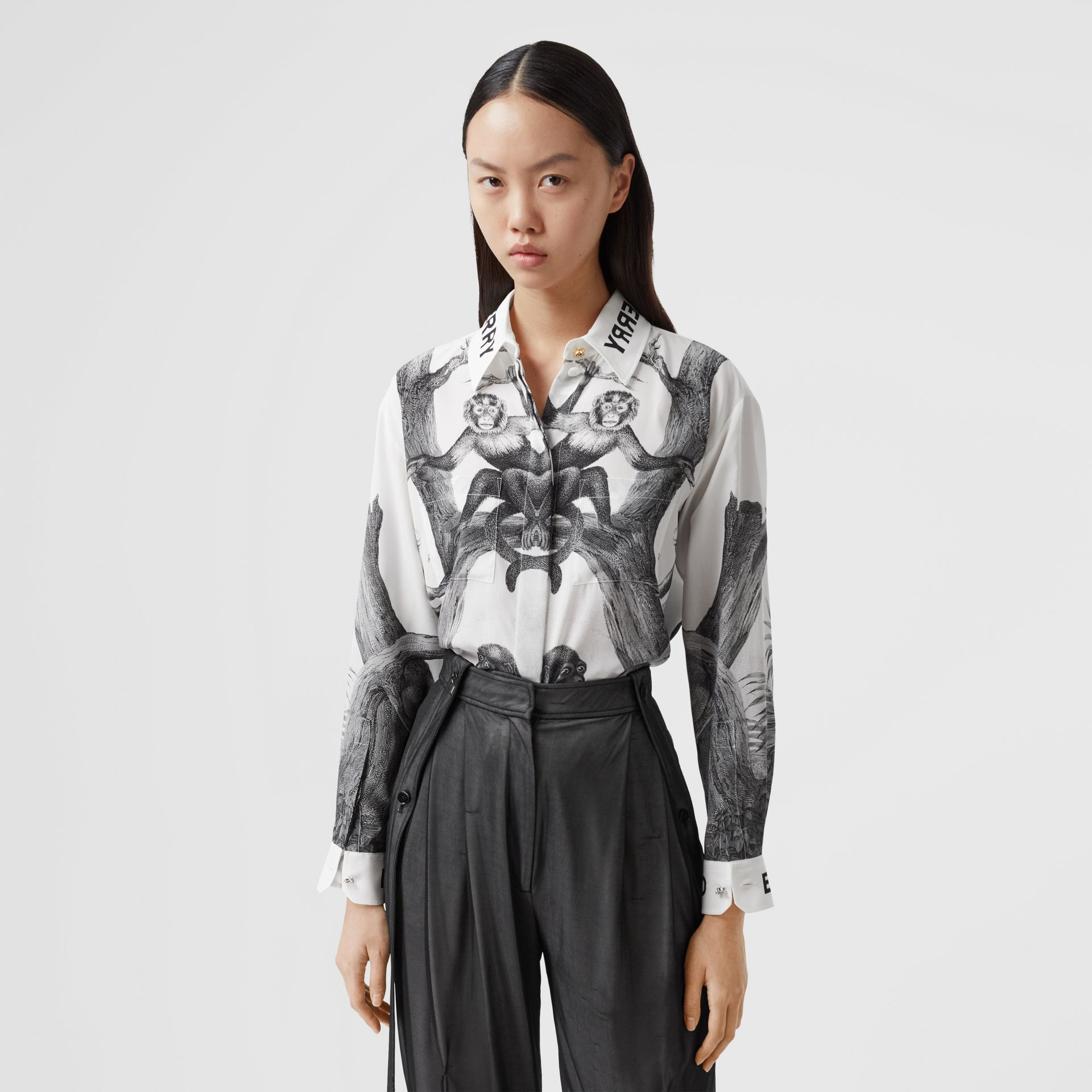 Montage Print Silk Shirt in Monochrome | Burberry - gallery image 5