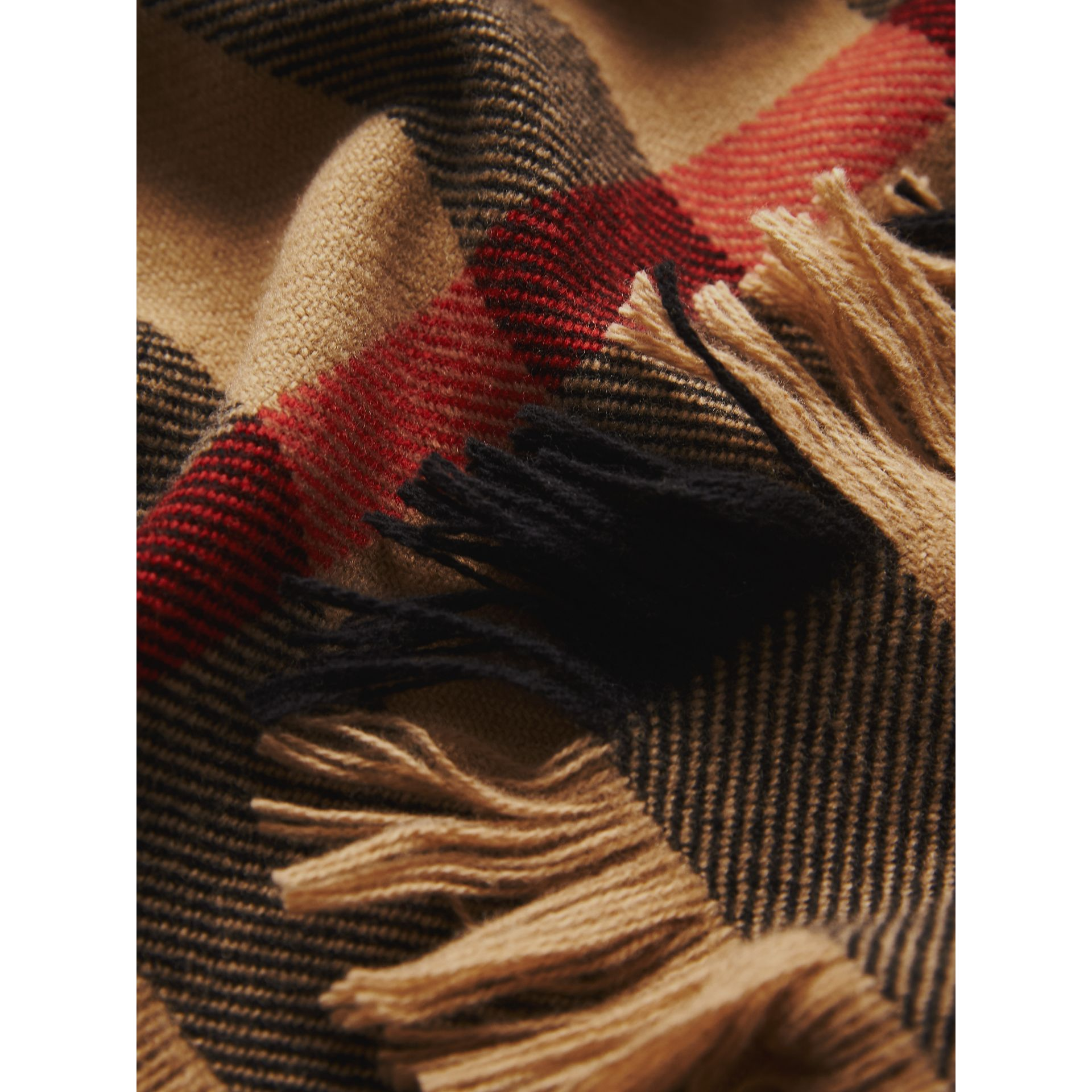 Fringed Check Wool Scarf in Camel | Burberry - gallery image 2