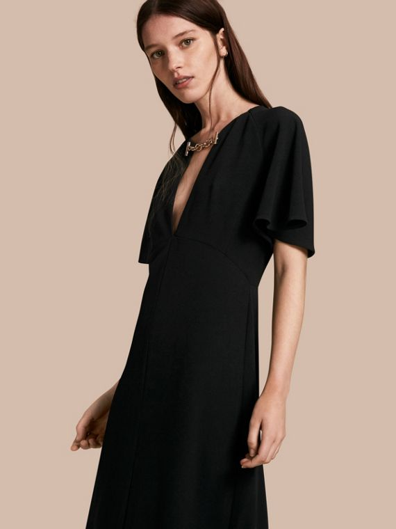 Flared-sleeve Chain Detail V-neck Technical Dress