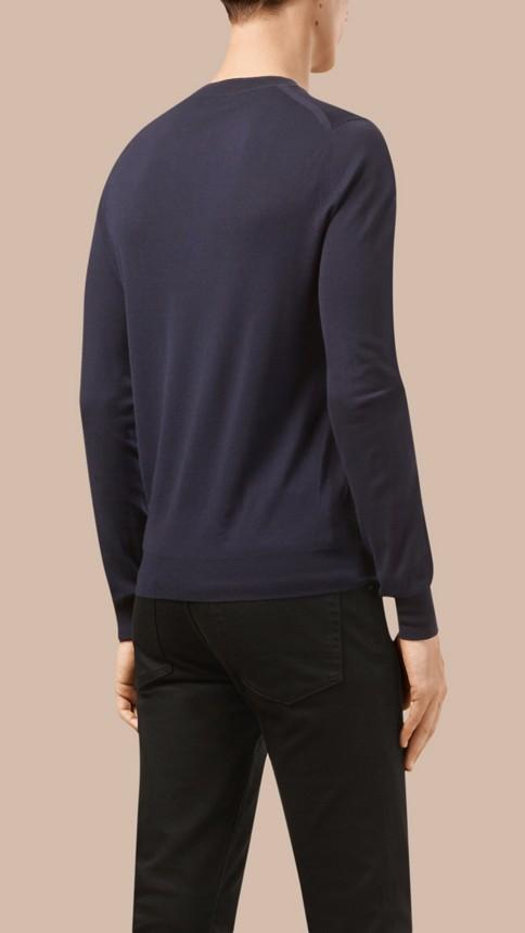 Navy Crew Neck Merino Wool Sweater Navy - Image 3