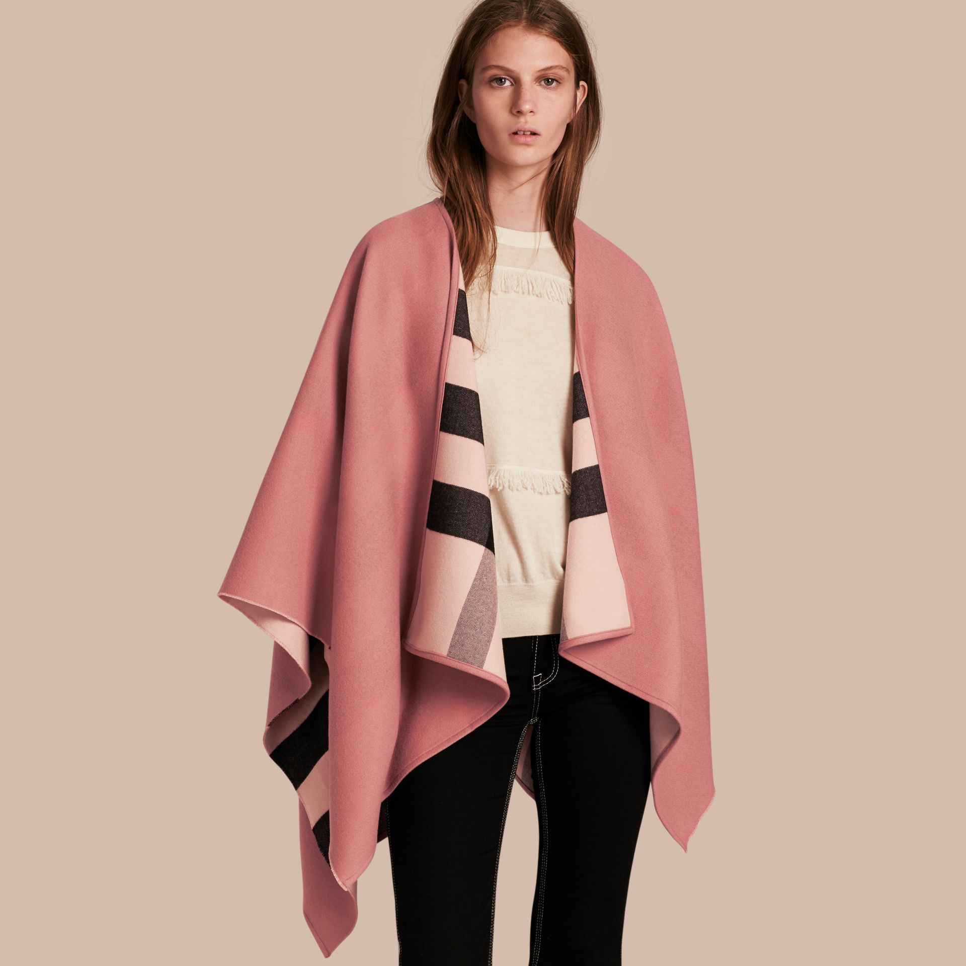 Reversible Check Merino Wool Poncho Ash Rose - gallery image 1