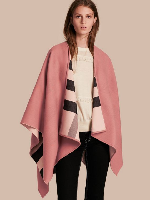 Reversible Check Merino Wool Poncho Ash Rose