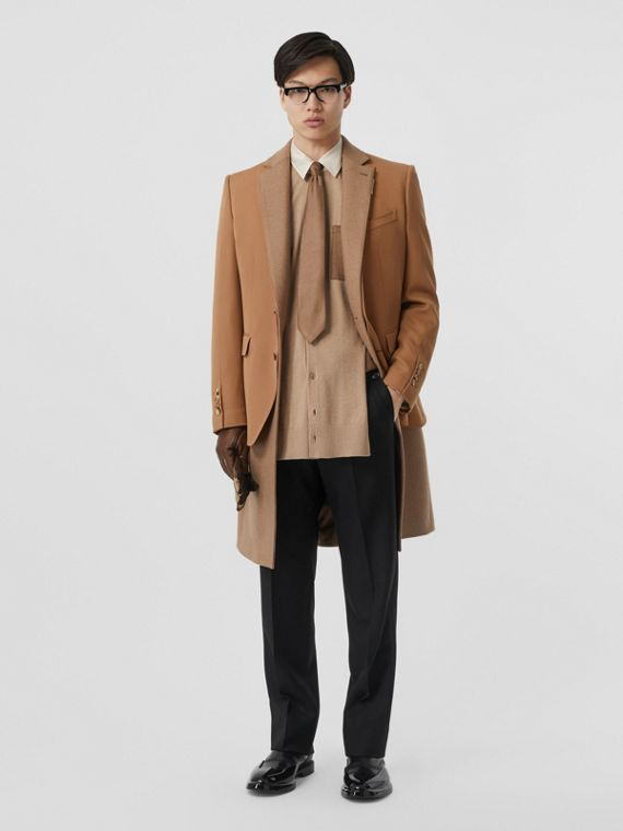 Camel Hair Coat with Detachable Wool Jacket in Warm