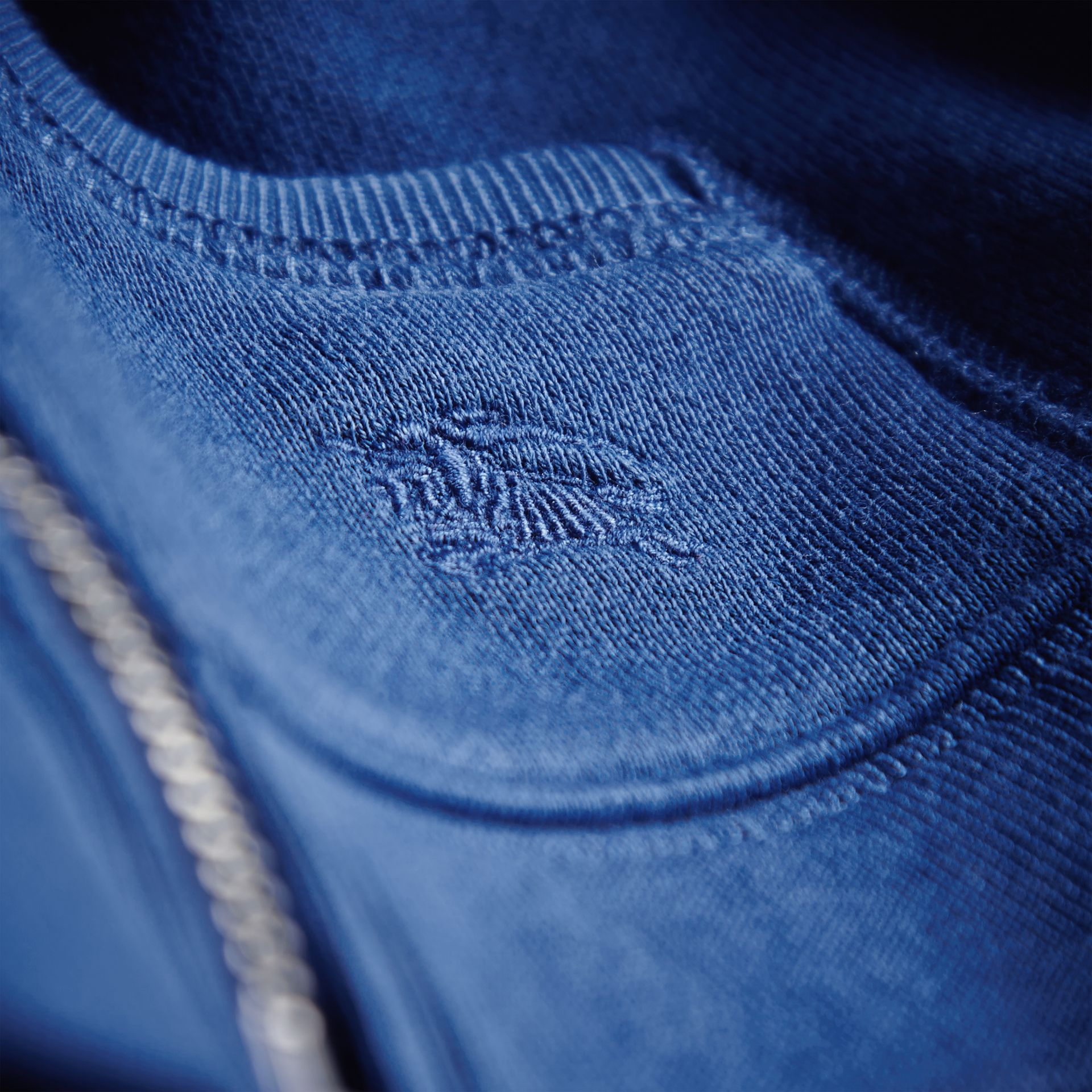 Check Detail Hooded Cotton Top in Marine Blue | Burberry - gallery image 2