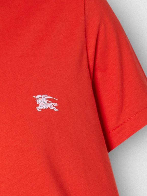 Embroidered EKD Cotton Jersey T-shirt in Bright Red - Men | Burberry - cell image 1