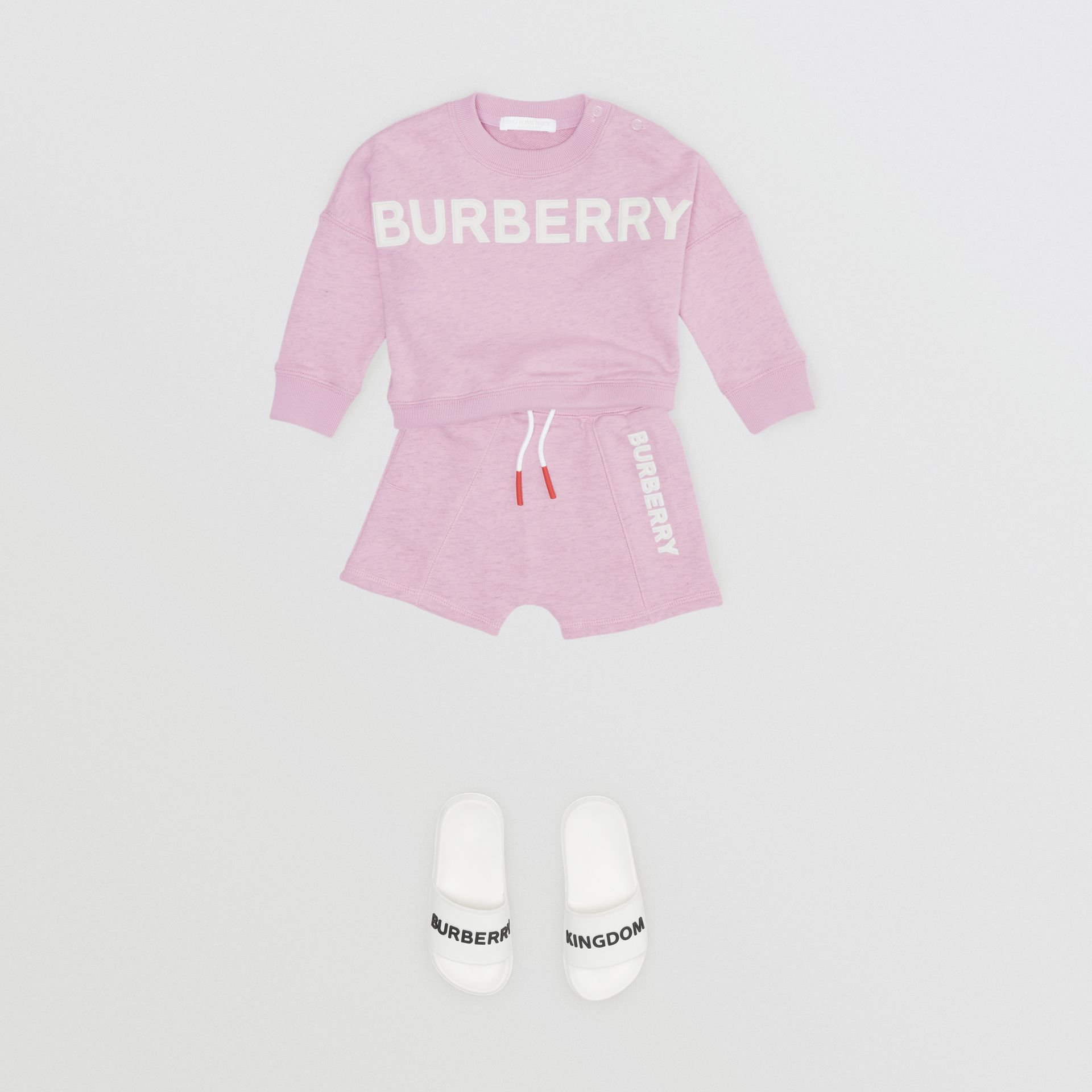 Logo Detail Cotton Drawcord Shorts in Pale Neon Pink - Children | Burberry - gallery image 2