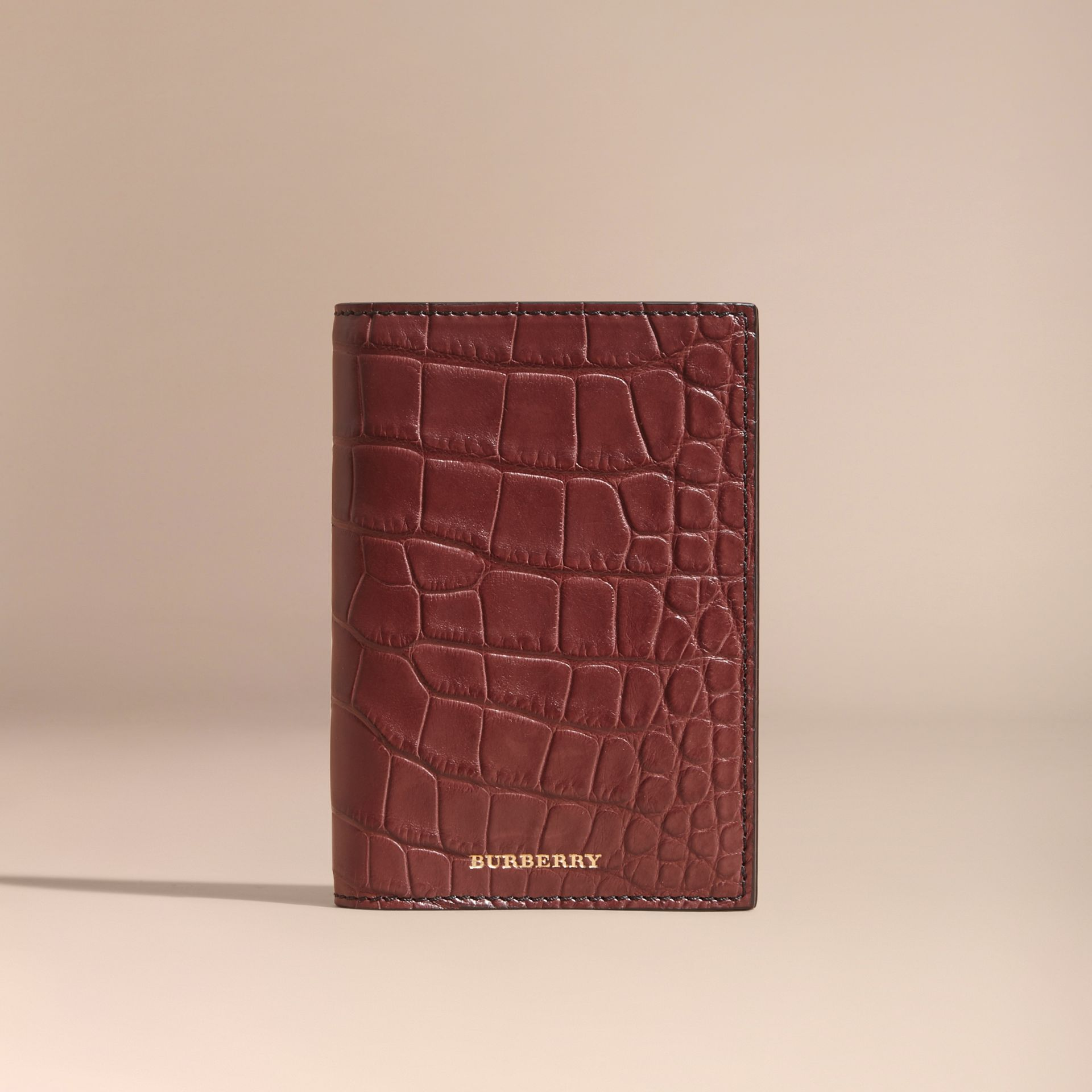 Alligator Passport Holder in Deep Claret - gallery image 5