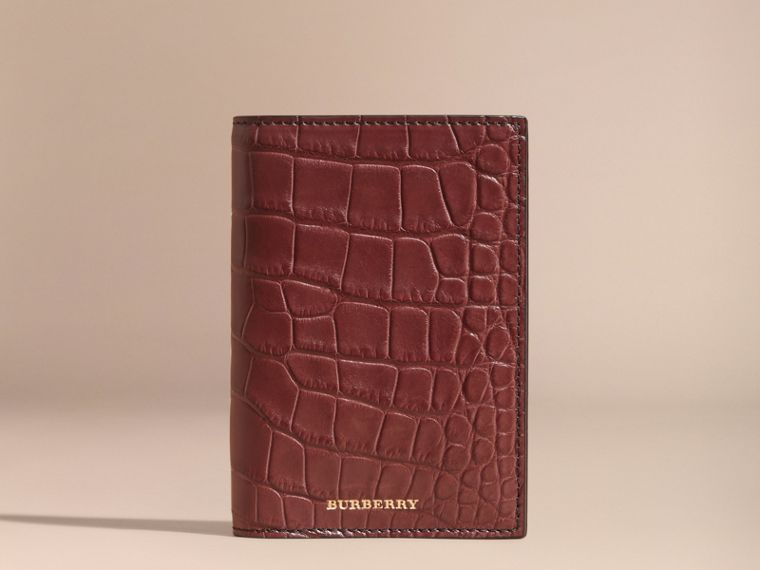 Alligator Passport Holder in Deep Claret | Burberry - cell image 4
